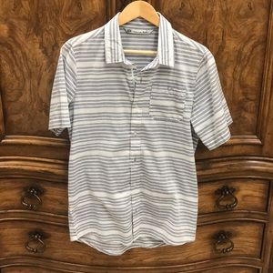 Grey and white striped button up polo
